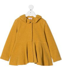 il gufo peter pan collar frilled coat - yellow
