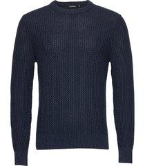 nestor-cotton structure gebreide trui met ronde kraag blauw j. lindeberg