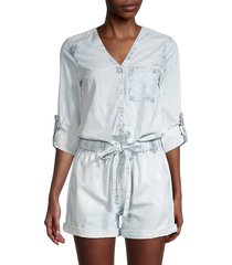 joe's jeans women's v-neck denim romper - hickory - size xs