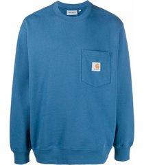 carhartt wip pocket logo-patch sweatshirt - blue