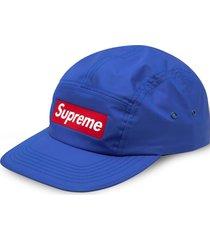 supreme inset logo camp cap - blue
