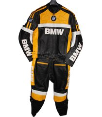 men black yellow white bmw motorcycle biker leather suit jacket with hump pants
