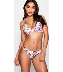 oriental floral push up plunge triangle bikini, white