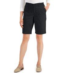 karen scott petite utility-pocket stretch-waist shorts, created for macy's