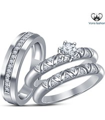 bride & groom trio ring set white gold plated 925 silver round cut sim diamond