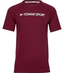 training top mesh logo t-shirts short-sleeved röd tommy sport