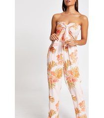 river island womens pink floral shirred tie front beach jumpsuit