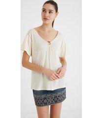 short-sleeved linen t-shirt - white - s