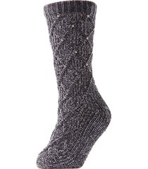 legwear pearl lattice plush -lined slipper socks