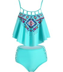 geometry overlay crisscross cutout tankini swimsuit