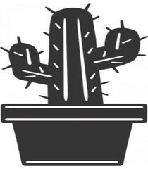 enfeite decorativo planta cacto silhueta preto mdf 43x22x1cm - preto - dafiti
