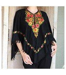 wool poncho, 'midnight floral grandeur' (india)
