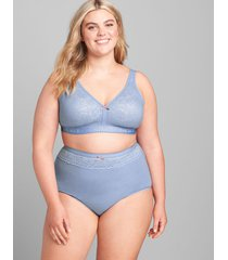 lane bryant women's cotton high-waist brief panty with lace waist 34/36 country blue