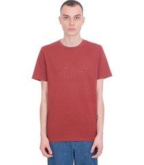 a.p.c. hartman t-shirt in bordeaux cotton
