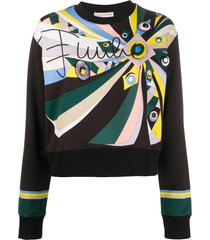 emilio pucci embroidered abstract-print sweatshirt - multicolour
