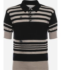 maison margiela striped pullover made of wool and linen