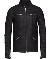 premium leather racer jacket läderjacka skinnjacka svart superdry