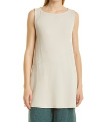 eileen fisher ballet neck ribbed tunic, size x-large in chalk at nordstrom
