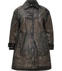 vaxad, leopardmönstrad jacka i lång modell