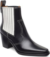 western boot polido shoes boots ankle boots ankle boot - heel svart ganni