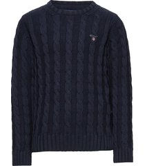 cotton cable crew pullover blauw gant