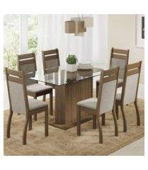 conjunto sala de jantar laís madesa mesa tampo de vidro com 6 cadeiras rustic/pérola