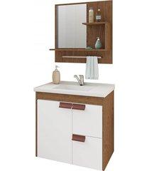 gabinete suspenso para banheiro tulipa 56x59cm amêndoa e branco