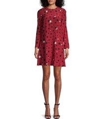 redvalentino women's star-print silk shift dress - deep red - size 38 (6)