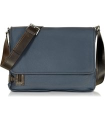 chiarugi designer briefcases, midnight blue leather messenger