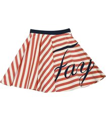 fay white and red stripes skirt with logo