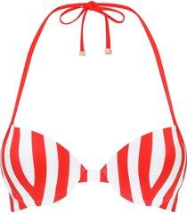 dolce & gabbana striped push-up bikini top - red