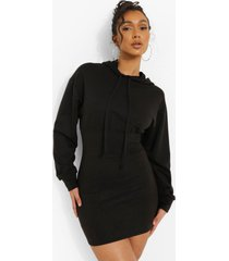 fitted body hoodie dress, black