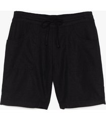 womens you're the real linen here longline shorts - black