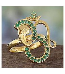 emerald and gold plated silver cocktail ring, 'inner peace' (india)