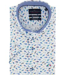 korte mouwen overhemd portofino blauw vissen