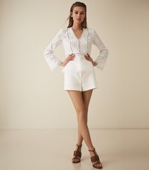 reiss acelina - broderie anglaise top in white, womens, size 10