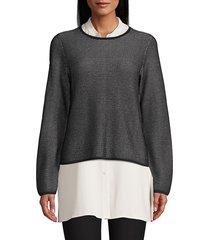 eileen fisher women's silk-blend top - black - size xl