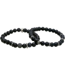 mr ettika lava stone beaded elastic bracelet, pack of 2