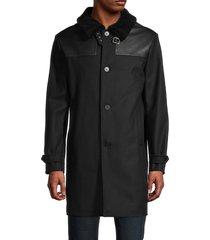 the kooples men's faux fur spread collar wool-blend coat - black - size m