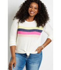maurices plus size womens 24/7 pieced stripe cozy baseball tee white