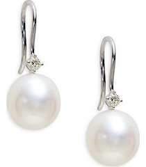 14k white gold, 10-11mm round freshwater pearl & diamond drop earrings