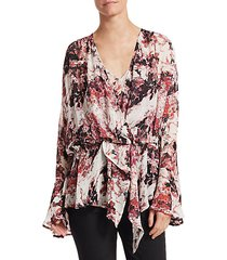 paradon bell sleeve floral blouse
