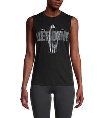 rta women's graphic cotton & cashmere-blend tank top - black - size xs