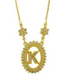 colar horus import letra k zircônia banhado ouro 18k feminino