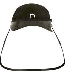 protective visor branded moire cap, black