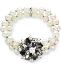 charter club silver-tone crystal, stone & imitation peal cluster stretch bracelet, created for macy's