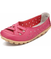 scarpe basse slip-on traforate in pelle respirabile con soletta morbida in colore a tinta unita