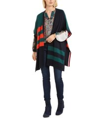 tommy hilfiger colorblocked poncho cardigan