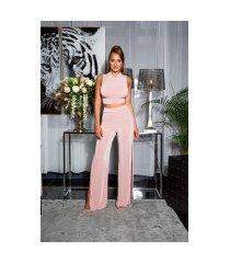 sexy 2 piece-set crop-top + hoge taille broek roze