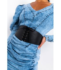 akira model behavior lace up pleather corset belt